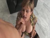 Lady Sonia jerks off a young guy