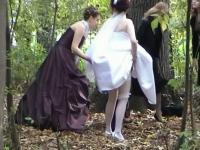 A jewel among voyeur videos with a bride pissing in the woods
