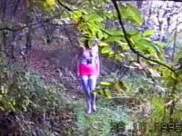 angela flashing in the woods