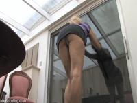 Blonde in miniskirt shows her knickers in down blouse video