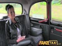FakeTaxi: Breasty brunette hair in anal creampie