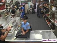 Huge boobs security officer pounded at the pawnshop