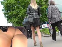 Upskirt tease by unsuspecting girl in nylon pantyhose
