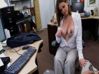 Busty MILF business woman sells her crappy laptop gets fucked