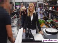 Hot blonde milf pounded at the pawnhop to earn extra money