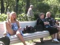 blonde flashing at park, pls add comment