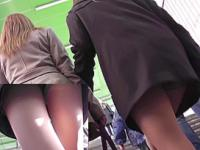 Perfect legs upskirt video with gorgeous bombshell