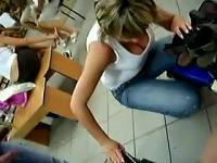 Candid Downblouse Blonde MILF Shoe Store