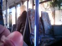 jerking for blonde mature woman on bus 2