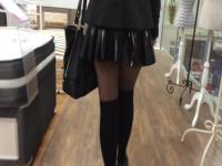 Lycaena shopping and flashing in latex miniskirt