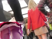 A-line skirt of blonde MILF was filmed by cameraman
