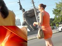 Candid upskirts featuring amateur MILF with panty pad
