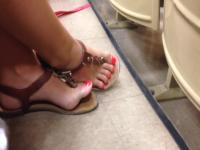 Candid College Blonde Feet Red Painted Toes