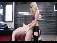 Small blonde fucking her slave