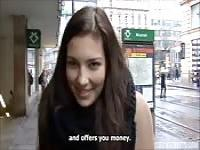 Incredible brunette tempted by money