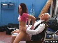 Girl testing an old man