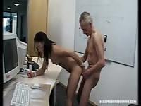 Old man fucks a hot office lady