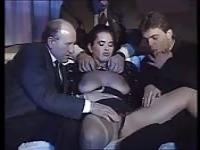 Three Italian boys fuck a nice brunette