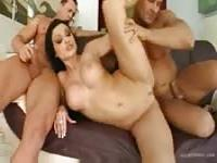 Impressive Aletta fucks with two men