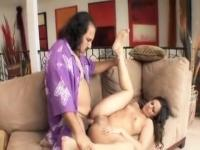 Ron Jeremy likes to fuck this hot youthful darksome haired hotty with merry little billibongs