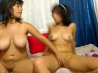 Two horny wenches exposing their genitals in front of web cam