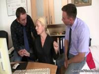 2 chaps share old golden-haired in the office