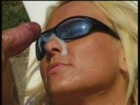 Golden-Haired floozy receives her cunt licked and drilled on the edge of pool