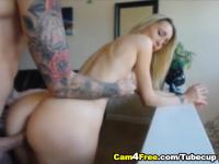 Horny Blonde GF Rides a Huge Dick