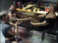 lady B foot worship by her slaves