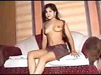 Indian babe performs strip tease