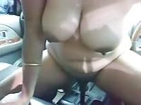 Slut screws a car shifter