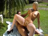 Sexy blonde Brazilian Angel Lima horny Outdoor Sex