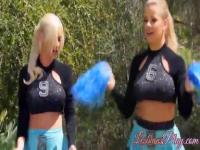 Two horny clipping blondes Adriana and Scoth in lesbo action