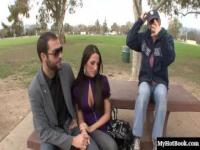 Brunette Kortney Kane and her husband meet a stranger in a park and