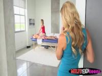 Blonde beauties Alexis and Chloe team up for a hot threesome