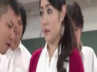 Luscious Japanese teacher gangbanged by her horny students