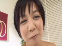 Asian busty slut tries out the sex toy