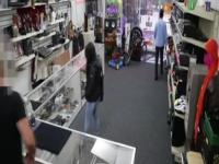 Brunette babe gets fucked after stealing stuff in the pawnshop