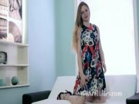 Alice Wonder takes off dress and masturbates