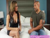 Big juggs latina shemale Jessy Dubai analyzed on the bed