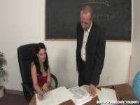 Slutty Schoolgirl Sucks and Fucks Her Teacher
