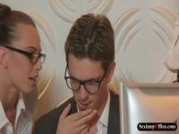 Two office babes in glasses theesome sex with handsome guy