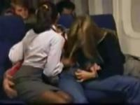 Stockings stewardess sex in the airplane