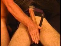 I slap, squeeze a strait jacketed muscular dude's big balls in this hot CBT session.