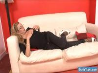 Long legged shemale Fernanda anal ripped real deep on sofa
