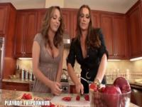 Lesbians have some fun in the kitchen