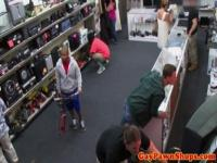 Black amateur facialized for cash in store