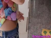 Latina teen cummed in