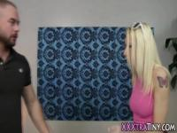 Petite blonde gets facial