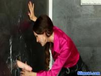 Gloryhole bukkake milf closeup in pantyhose